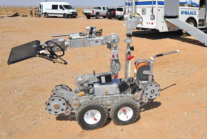 A hazardous materials robot at the 2014 Robot Rodeo at Los Alamos National Laboratory.