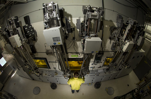 Bird's eye view of a hot cell where the isotopes are separated and purified.