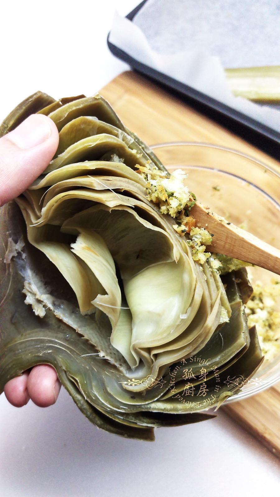 孤身廚房-青醬帕瑪森起司鑲烤朝鮮薊佐簡易油醋蘿蔓沙拉14