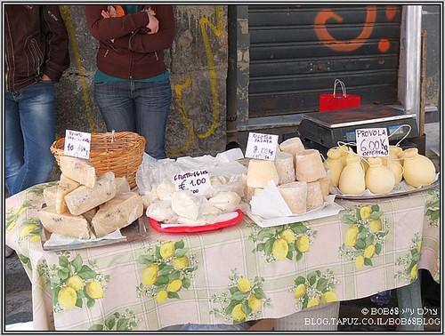 מהאוכל בסיציליה , גבינות מקומיות בשוק