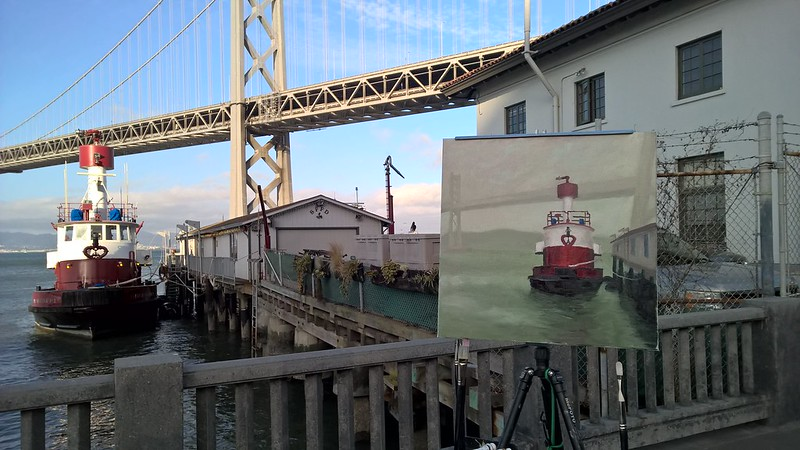 Painting of Embarcadero Fireboats at Richard Robinson's Workshop