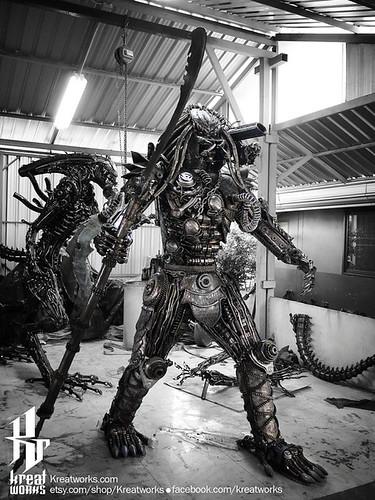 Dieselpunk recycled metal statues by Kreatworks - Predator