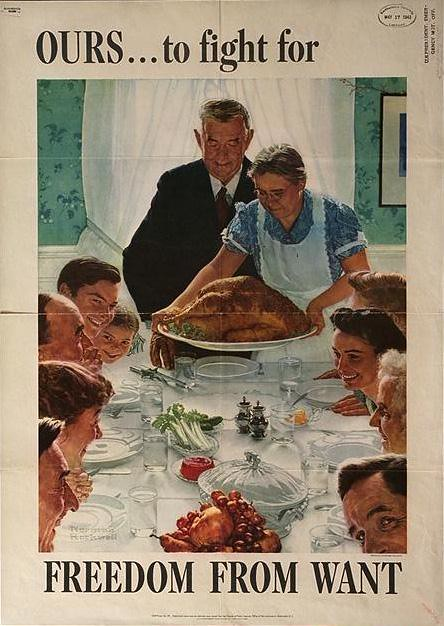 World War II Poster - Norman Rockwell Freedom From Want