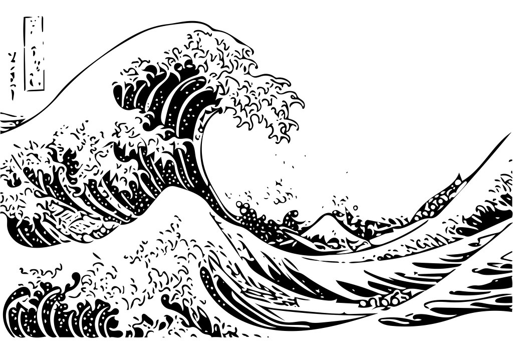Great wave off kanagawa processed 19 processed for The great wave coloring page