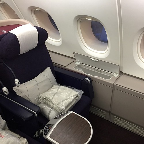 Nice and cozy - my business seat on @malaysiaairlines with @chefnormanmusa