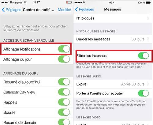 reglages iphone desactiver centre-notifications-