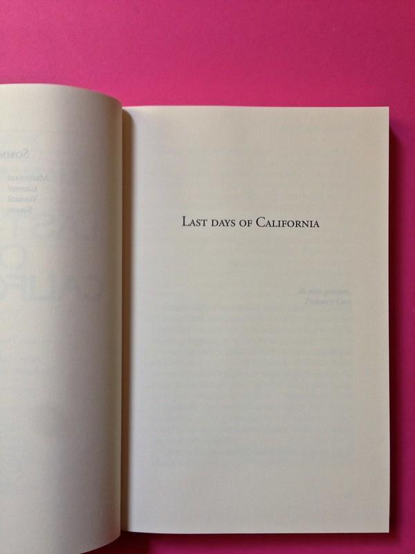 Last days of California, di Mary Miller. ClichY 2015. Progetto grafico e illustrazioni di Raffaele Anello. Pagina del titolo, a pag. 7 (part.), 1