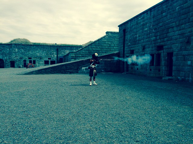 Re-enactor gives a rifle demo at Citadel Hill, Halifax, NS