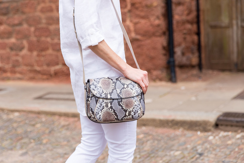 Hobbs SS16: White linen shirt, white jeans, snakeskin print satchel | Not Dressed As Lamb (photo: Kate Forster)