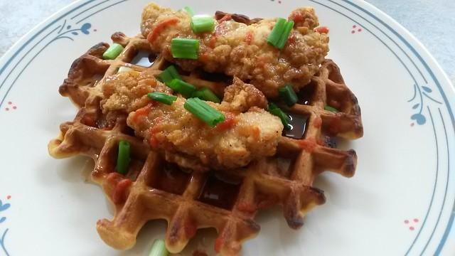 Chicken and kimchi waffle
