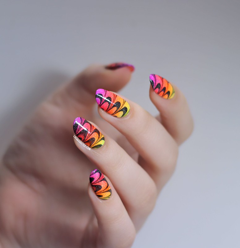 lacquerstyle kgrdnr neon gradient watermarble water marble nail art china glaze holographic orly color club