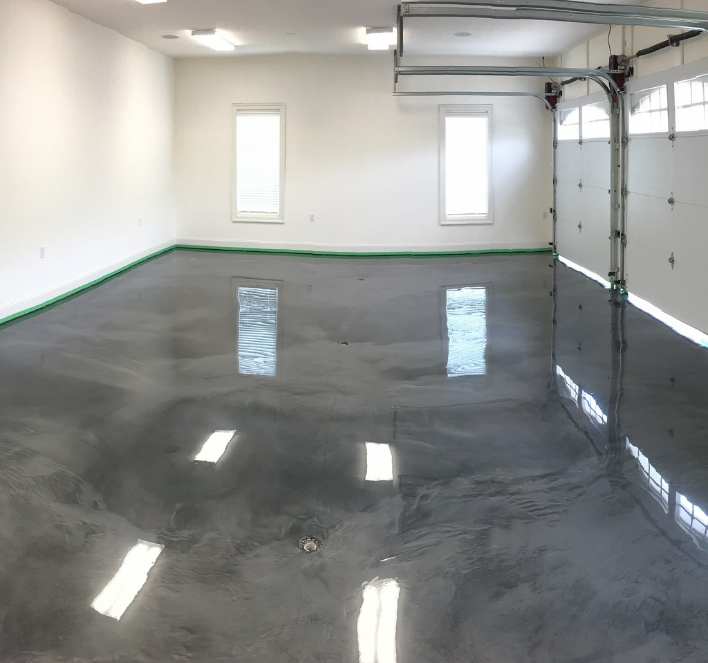 We poured a metallic epoxy garage floor today at smith mou for Pouring concrete garage floor