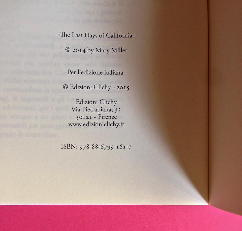 Last days of California, di Mary Miller. ClichY 2015. Progetto grafico e illustrazioni di Raffaele Anello. Pagina del colophon, a pag. 2 (part.), 2