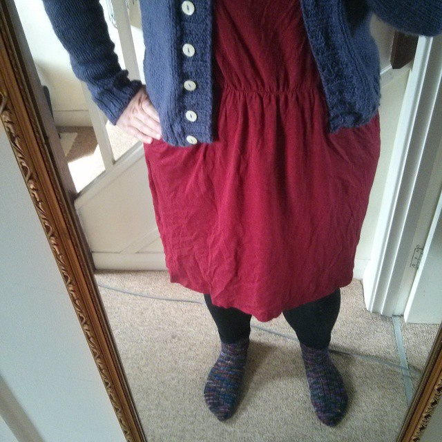 #mmm15 day 31 - lounging & hoovering in my knitted socks & purply boyfriend cardigan. Not a leaving the house sort of day