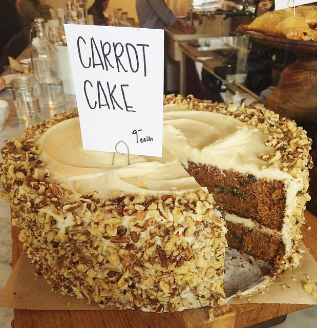 This carrot cake at the Deru Market spoke to me (although it was the salted peanut butter chocolate cake that came home with me). 😍