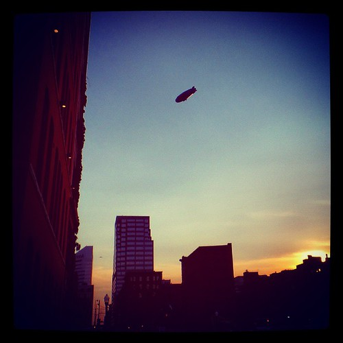 Another photo of the DirecTV blimp floating high above downtown Cincinnati...