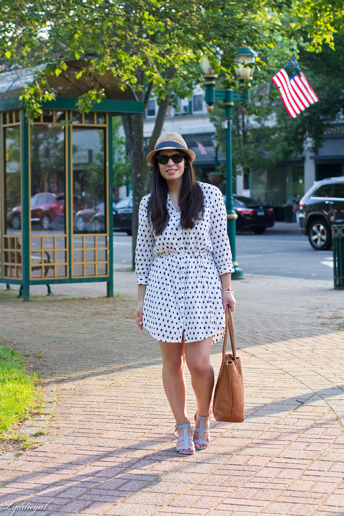 polka dot dress, straw fedora, blue sandals-1.jpg