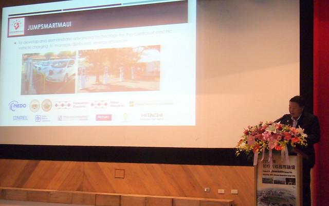 茂宜郡長Alan Arakawa分享與日本組織合作推動的智慧微電網示範計畫。攝影:李育琴