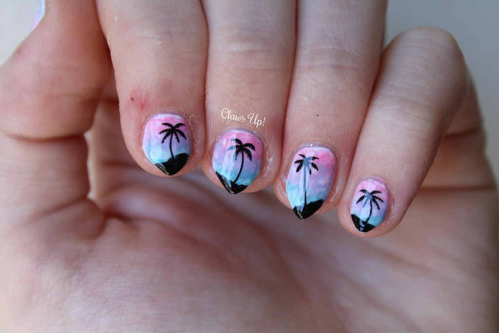 Summer sunset nail art using Born Pretty Store palm tree nail art water decals.