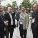 Jean-Claude Schneuwly, Matthias Rinderknecht and Jürg Röthlisberger share a drink at the reception