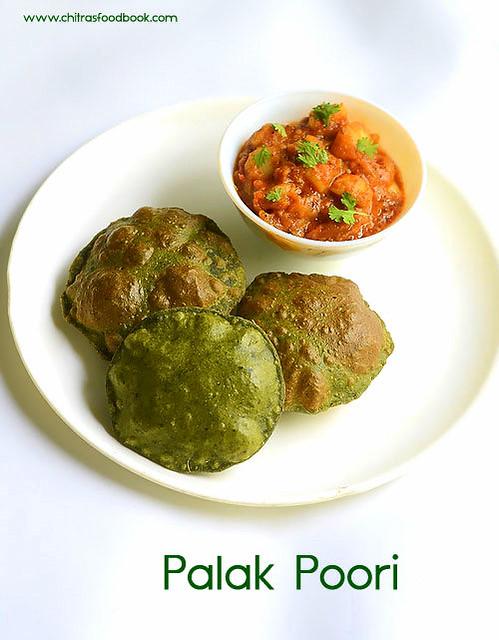 Palak Poori with side dish
