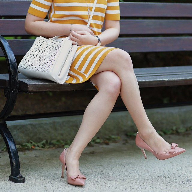OOTD:  Ann Taylor Striped Short Sleeve Sweater Dress