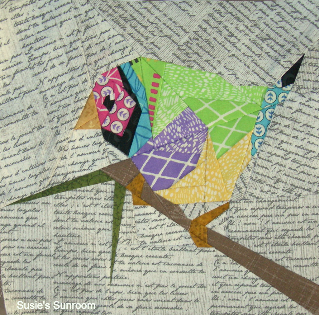 Colored Finch paper pieced pattern by QuiltArt Designs ...