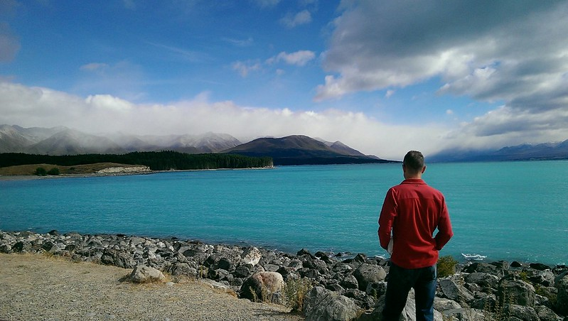 travelling lake pukaki in the south island of new zealand