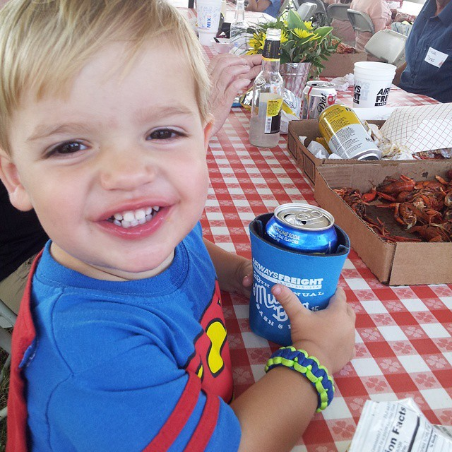 Crawfish, chips and soda pop. The boy. Is. Happy. #mboys2015