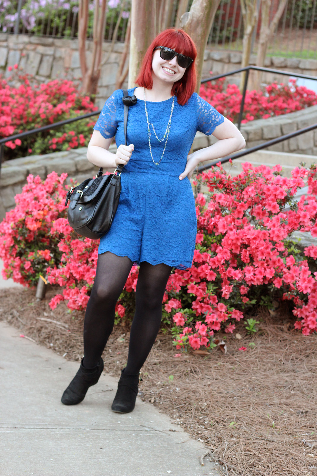 Work Appropriate Romper: Blue Lace Romper, Black Tights, Wedge Ankle Boots
