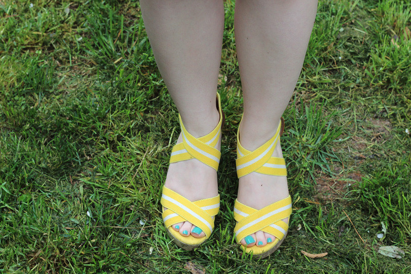 Yellow Sporty Wedge Sandals from Target
