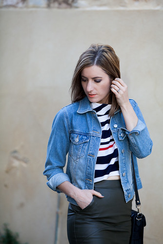 Boohoo stripe crop and blue denim jacket