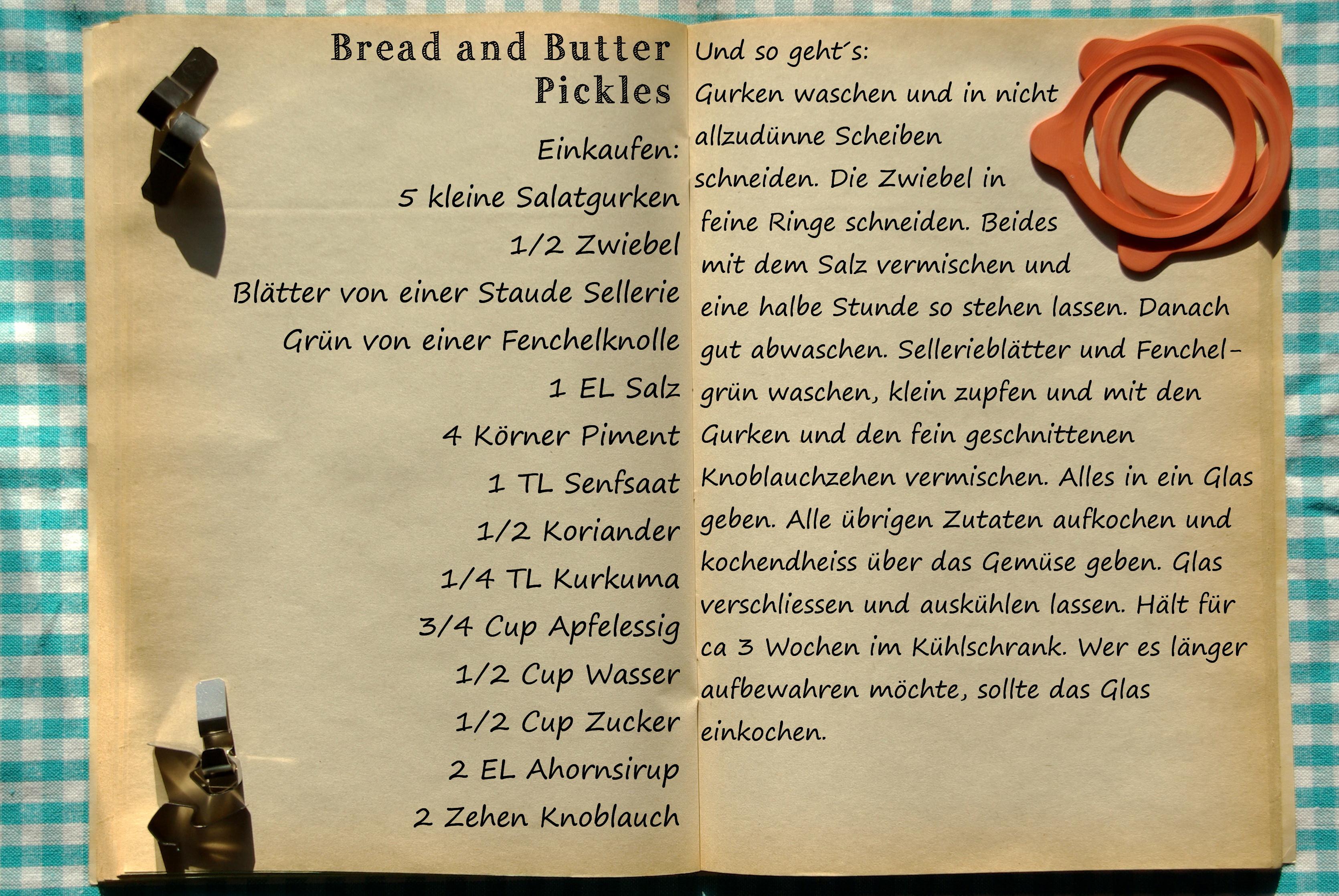 Einkaufszettel Bread and Butter Pickles by Glasgeflüster