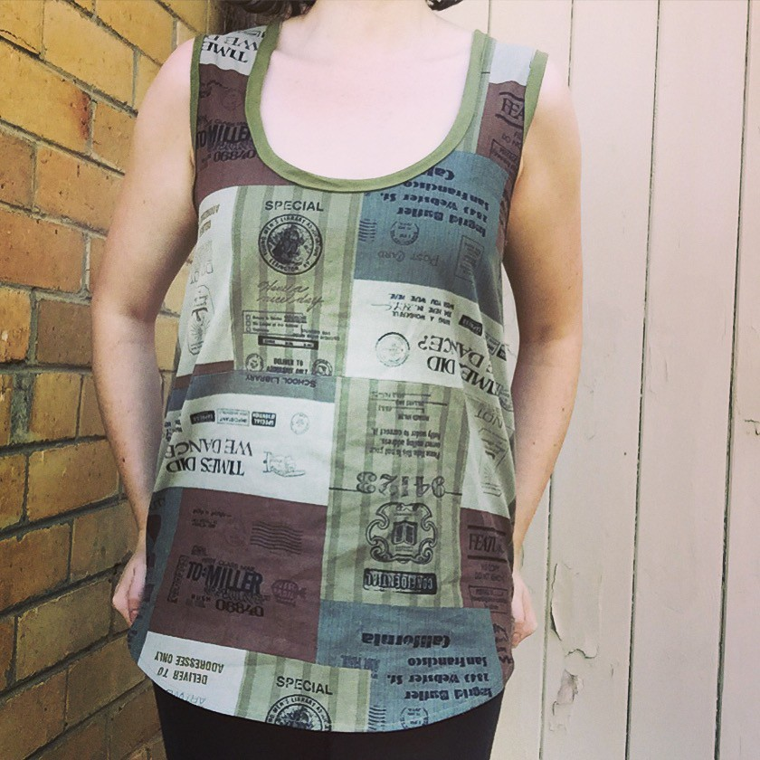 wiksten tank sewn in scraps from my stash in olive green tones