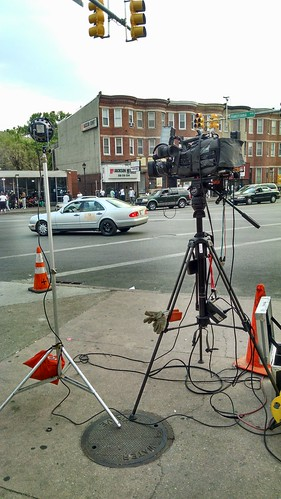 Local media show up at Pennsylvania & North Avenue one week after it was rocked by violent protests.