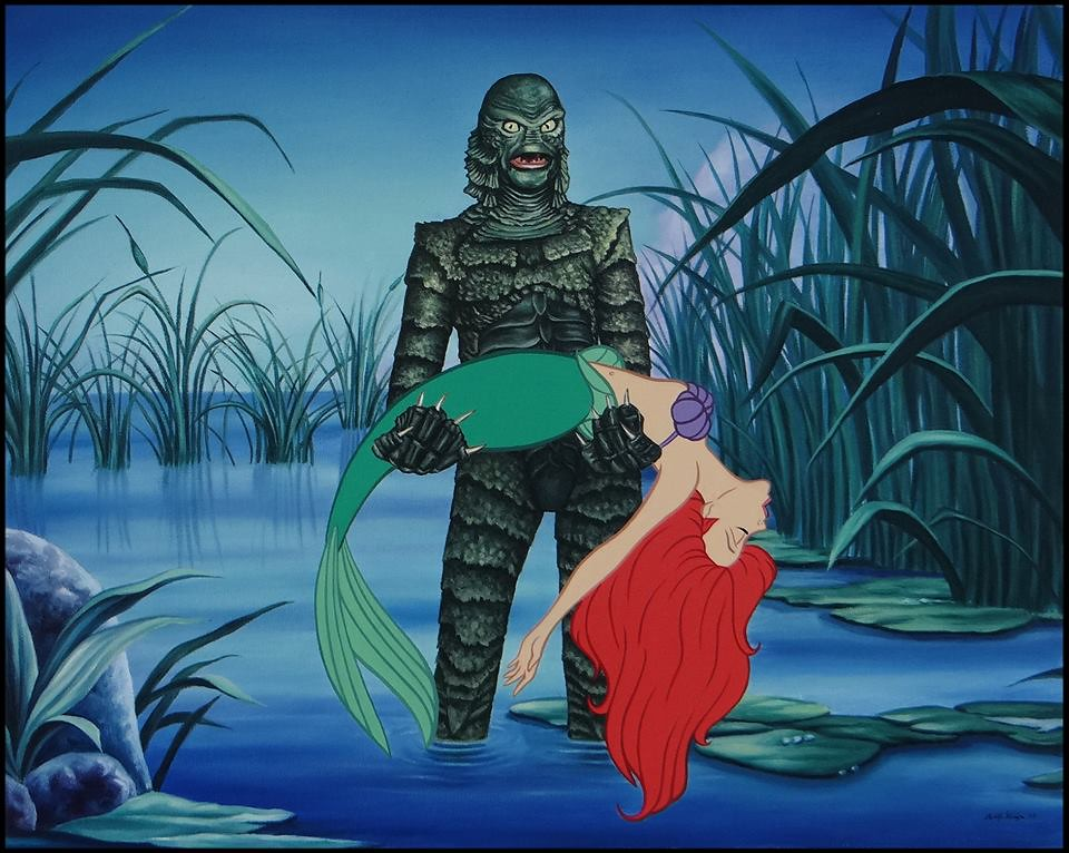 Disenchanted Disney by Rodolfo Loaiza Ontiveros - You Gotta Kiss The Girl - Ariel vs The Creature from the Black Lagoon