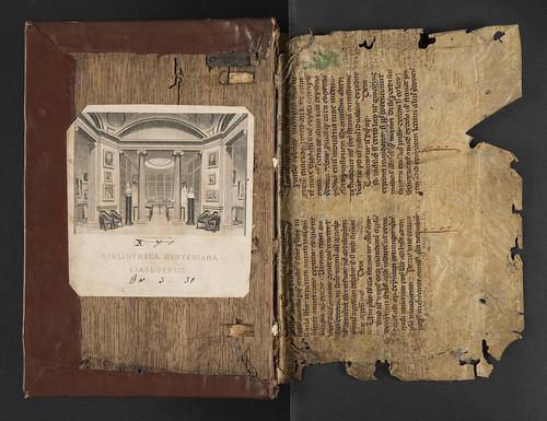 Inner board and manuscript flyleaf in Ficinus, Marsilius: Epistolae