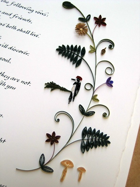 Quilled Woodland Marriage Certificate - Detail