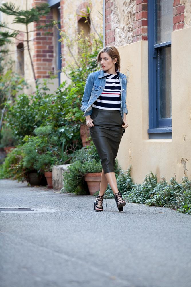 Wearing Boohoo Alexa Stripe crop