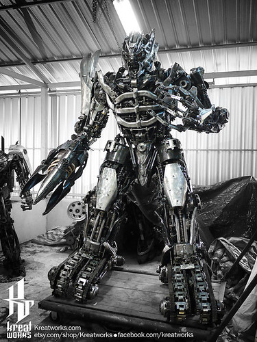 Dieselpunk recycled metal statues by Kreatworks - Transformers Megatron