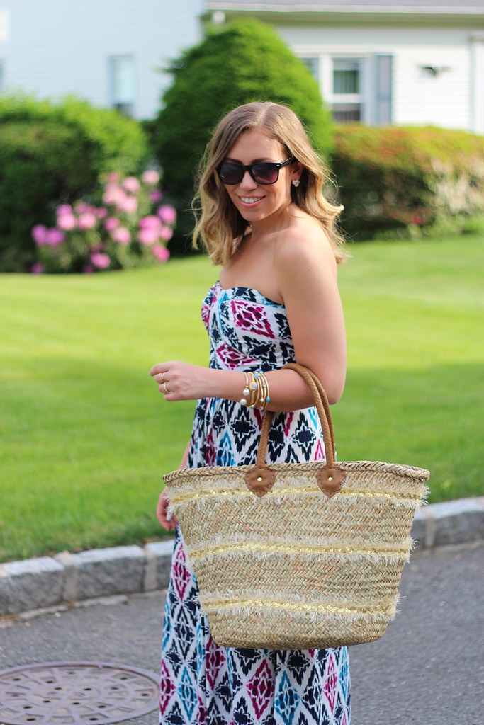 Geometric Printed Maxi Dress | Straw Bag