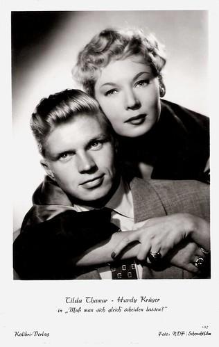 Tilda Thamar and Hardy Krüger in Muss man sich gleich scheiden lassen? (1953)