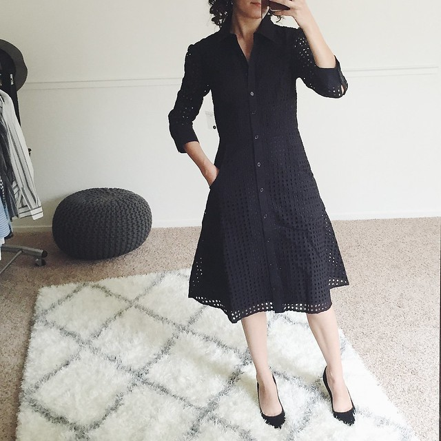 Fit Review Friday – Anthropologie Petite Openwork Shirtdress