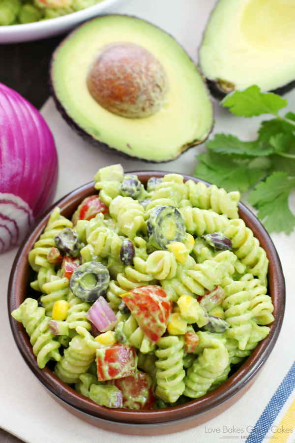 Avocado-Cilantro Pasta Salad in a brown bowl.
