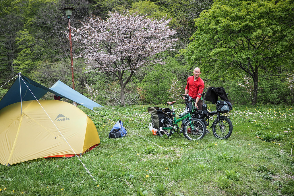 Spring time cycle touring camping at Taisei Campground, Hokkaido, Japan