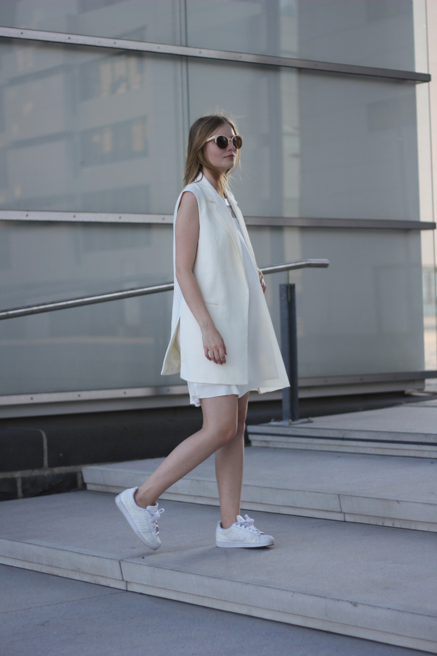 outfit all white sneaker adidas dress river island vest mexx sunglasses bag zara