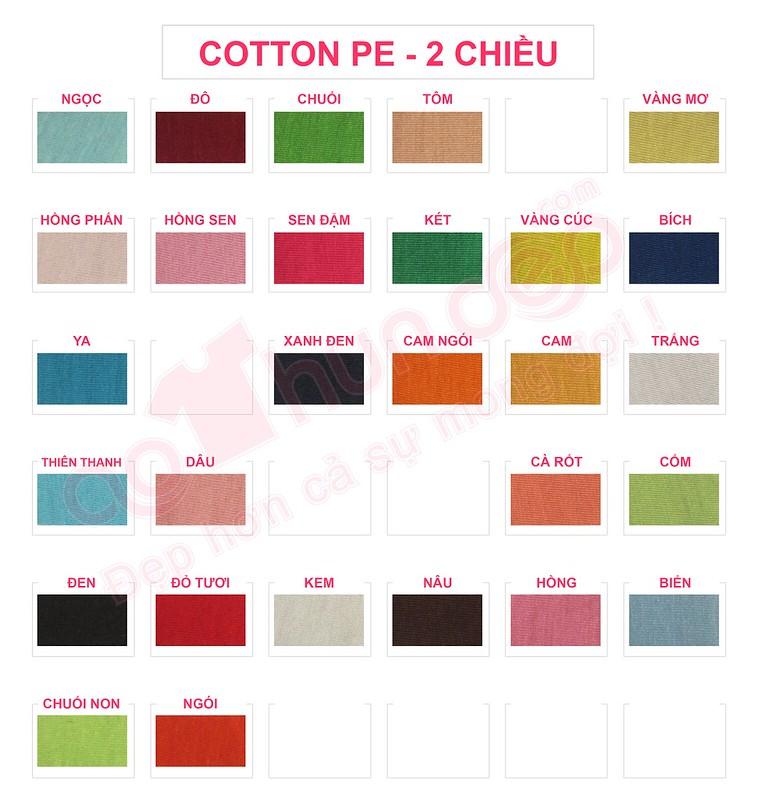 Bảng màu vải áo thun cotton PE 2 chiều