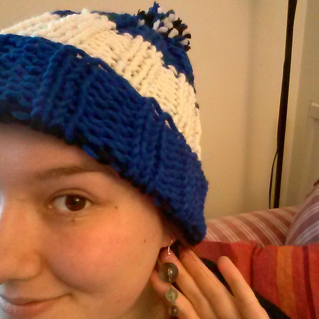 #mmm15 day 10 - modelling a hat I've made for someone I'm pretty sure isn't on Instagram and some earrings I made a few years ago