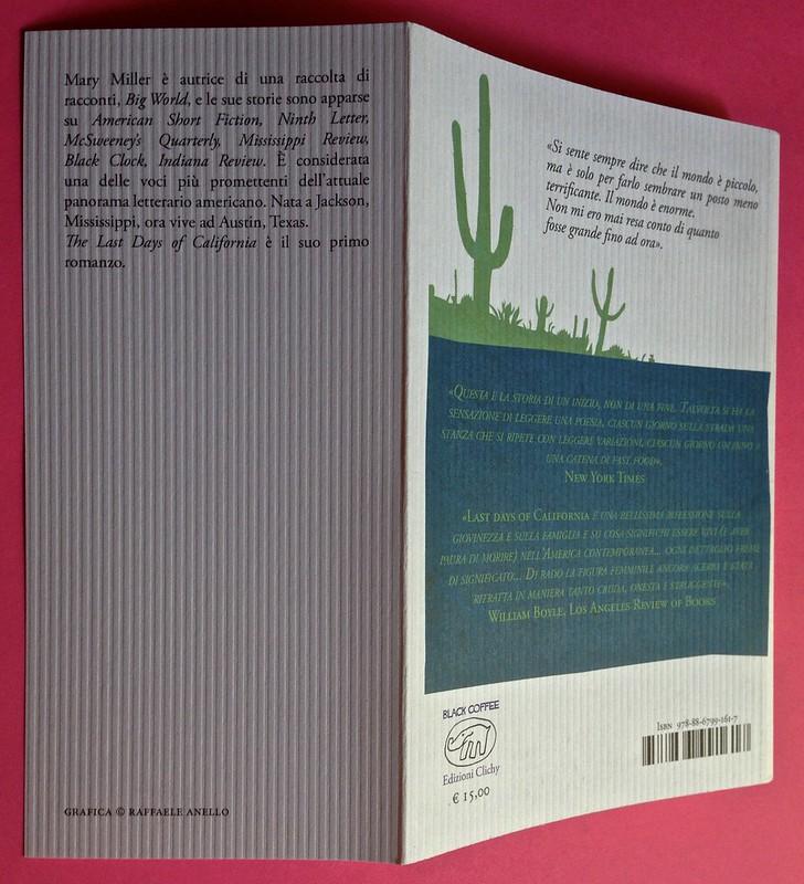 Last days of California, di Mary Miller. ClichY 2015. Progetto grafico e illustrazioni di Raffaele Anello. Bandella e quarta di copertina (part.), 1