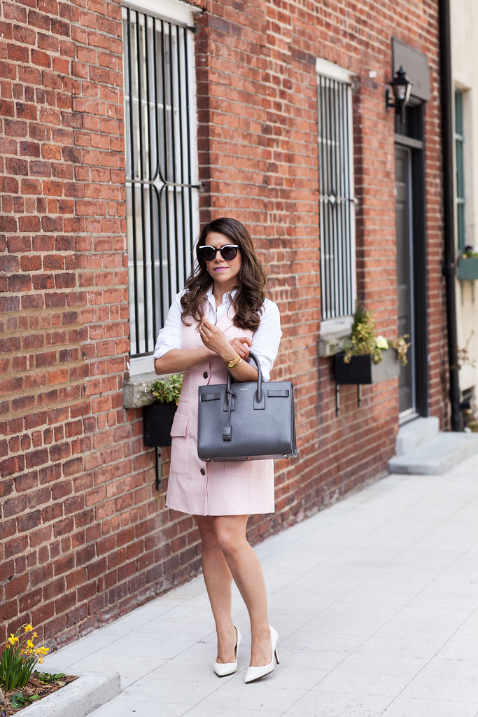 Dress - Nanette Lepore (available in white) Shirt - Ann Taylor Bag - Saint Laurent Sac de Jour Sunglasses - House of Harlow 1960 Watch - Bracelet - Kate Spade Earrings - Capwell & Co.